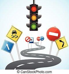 vettore, traffico, concetto, lights., strada