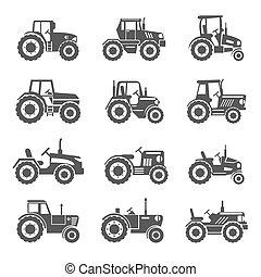 vettore, trattore, icone