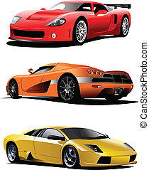 vettore, tre, automobili, sport, illustrazione, road.