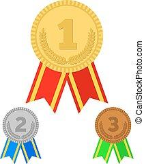 vettore, tre, medaglie