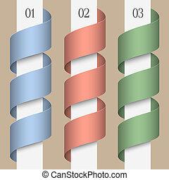 vettore, tre, ribbons-banners, numerato