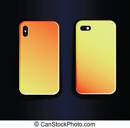 vettore, trending, pendenza, -, su, giallo, smartphone, arancia, casi, beffare