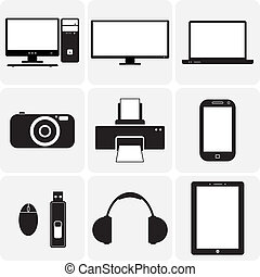 vettore, tv, gadgets., &, questi, grafico, icons(symbols), quaderno, laptop, aggeggi, simplistic, altro, nero, digitale, illustrazioni, macchina fotografica, bianco, elettronico