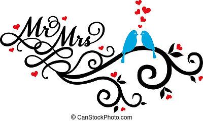vettore, uccelli, signora, matrimonio, sig.