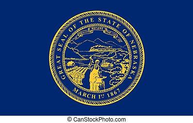 vettore, unito, illustration., flag., stati, america., nebraska