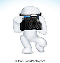 vettore, uomo macchina fotografica, 3d