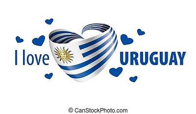 vettore, uruguay., uruguay, iscrizione, illustrazione, bandiera nazionale, amore