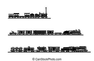 vettore, vecchio, treno, fondo, set, bianco