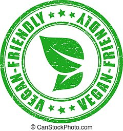 vettore, vegan, amichevole, francobollo, prodotto