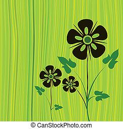 vettore, verde, fiore, fondo