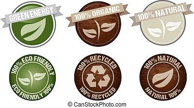 vettore, verde, icona, etichetta