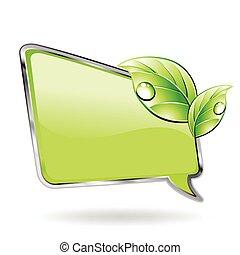 vettore, verde, leaf., bandiera