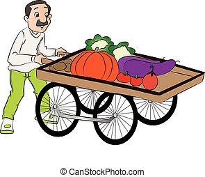 vettore, verdura, spinta, venditore, cart.