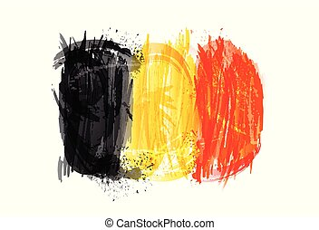 vettore, vernice, colorito, grunge, bandiera, texture., belgio, smears, fatto, splashes.