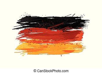 vettore, vernice, colorito, grunge, bandiera, texture., smears, fatto, germania, splashes.