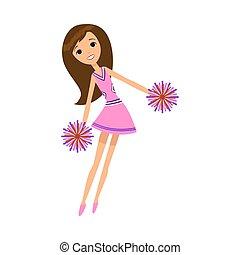 vettore, vestire, cheerleader, ballo, illustrazione, pompons, rosa