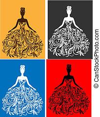 vettore, vestire, donna, silhouette, giovane