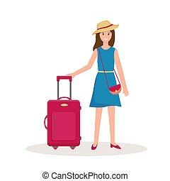 vettore, viaggiare, illustrazione, valigia, donna