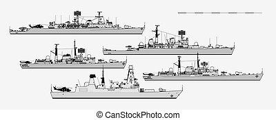 vettore, vista., postwar, lato, reale, sagoma, britannico, destroyers., navy., illustration.