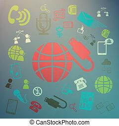 vettore, web, colorare, retina, icone