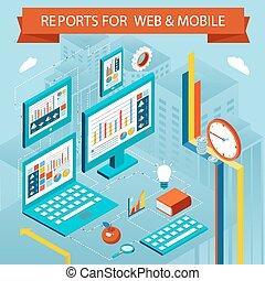 vettore, web pagi, concetto, affari, appartamento, mobile, isometrico, rapporti, tabelle, apps.