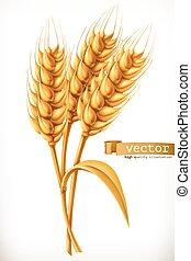 vettore, wheat., orecchio, icona, 3d