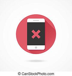 vettore, x, smartphone, icona, marchio