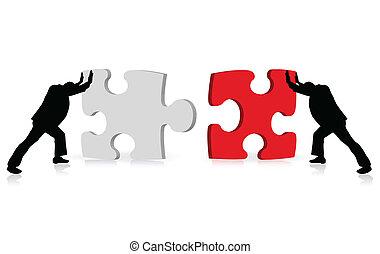 via, affari, successo, puzzle, illustrato, concetto, realizzazione, affiatamento