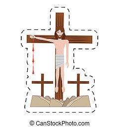 via, cristo, inchiodato, -, croce, gesù, crucis, cartone animato