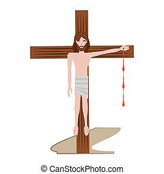 via, cristo, inchiodato, -, croce, gesù, crucis