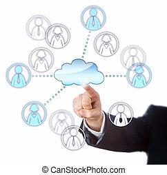 via, lavorante, contattare, femmina, maschio, nuvola