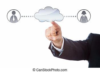 via, lavoratori ufficio, due, connettere, nuvola