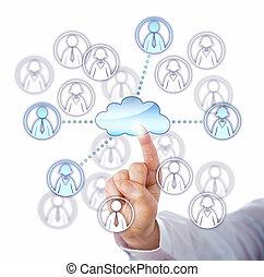 via, lavoro, quattro, contattare, membri, squadra, nuvola