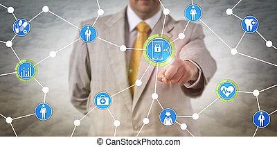 via, mobile, direttore, sanità, scambiare, dati