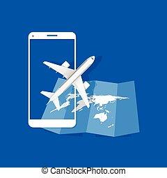 viaggiare, aeroplano, illustrazione, icona