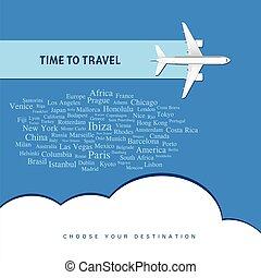 viaggiare, aeroplano, illustrazione, tempo