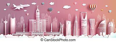 viaggiare, arabia, orizzonte, costruzione, moderno, skyscraper., saudita