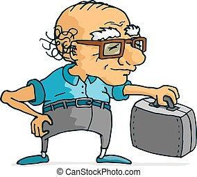 viaggiare, attivo, valigia, pronto, uomo senior