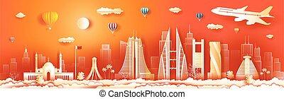 viaggiare, bahrain, panorama, orizzonte, architettura, vista, costruzione, skyscraper.