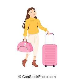 viaggiare, borsa, moda, giovane, illustrazione, turista, vacanza, valigia, andare, cartone animato, vestiti, vettore, viaggio, ragazza, donna
