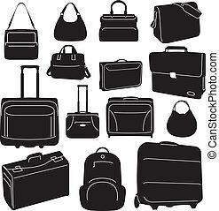 viaggiare, borse, collezione, valigie