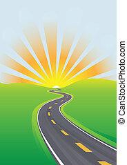 viaggiare, cielo, mattina, futuro luminoso, autostrada
