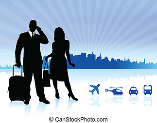 viaggiare, città, fondo, coppia, orizzonte