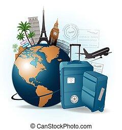 viaggiare, concetto, fondo