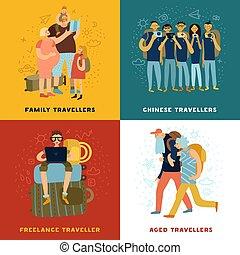 viaggiare, concetto, set, punte, icone