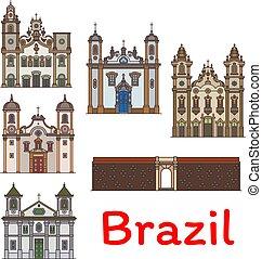 viaggiare, disegno, brasiliano, punto di riferimento, turismo, icona
