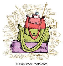 viaggiare, doddle, bagaglio