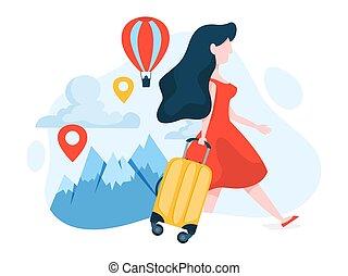 viaggiare, donna, baggage., idea, viaggio