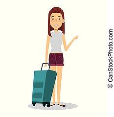 viaggiare, donna, carattere, valigia