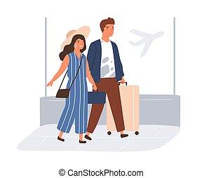 viaggiare, donna, coppia, giovane, holiday., illustrazione, appartamento, valigie, uomo, vettore, colorato, estate, fondo, andare, bianco, bagaglio, isolato, aeroporto., felice